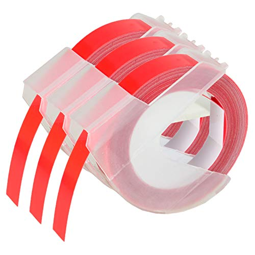 """KCMYTONER 3 roll Pack Replace 3D Plastic Embossing Labels Tape for Embossing White on Red 3/8"""" x 9.8' 9mm x 3m 520102 Compatible for Dymo Executive III Embosser 1011 1550 1570 1610 Label Markers"""