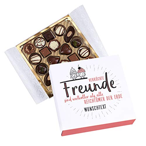Herz & Heim® Lindt Geschenk-Pralinen für beste Freunde - in persönlicher Banderole mit Wunschtext