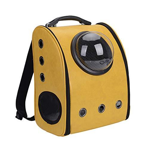 FHDFH Mochila portátil de Viaje para Mascotas, diseño de Burbujas de cápsula Espacial, Mochila Impermeable para Gatos y Perros pequeños, Mochila para Mascotas aprobada por la aerolínea,Amarillo