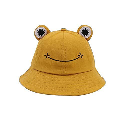 YTFU Sombrero de cubo de rana para adultos, sombrero de pescador de rana, sombrero de sol de verano, de algodón, para mujer, Bebé-Niñas, M106429Y3FHU1LJM9, Amarillo 53-55cm, 53-55cm