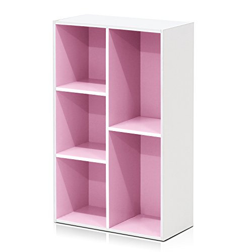 FURINNO Turn-N-Tube Display Rack, 3-Tier Single, Pink/White