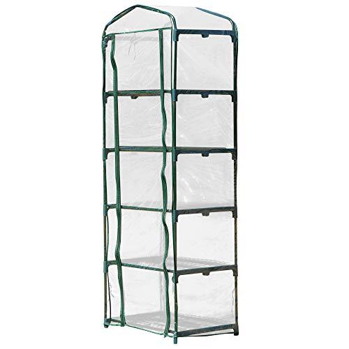 Outsunny Mini-Gewächshaus für Blumen oder Gemüse Aufzucht Transparent+Grün, Stahl, Kunststoff, 69L x 49B x 193H cm