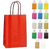 Thepaperbagstore 20 Bolsas Pequeñas De Papel para Fiestas Y Regalos, con Asas Retorcidas - Rojo - 140x210x80mm