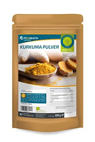 FP24 Health Kurkuma Pulver 1kg - im Zippbeutel - Curcuma gemahlen mit Curcumin - Kurkumapulver - Top Qualität