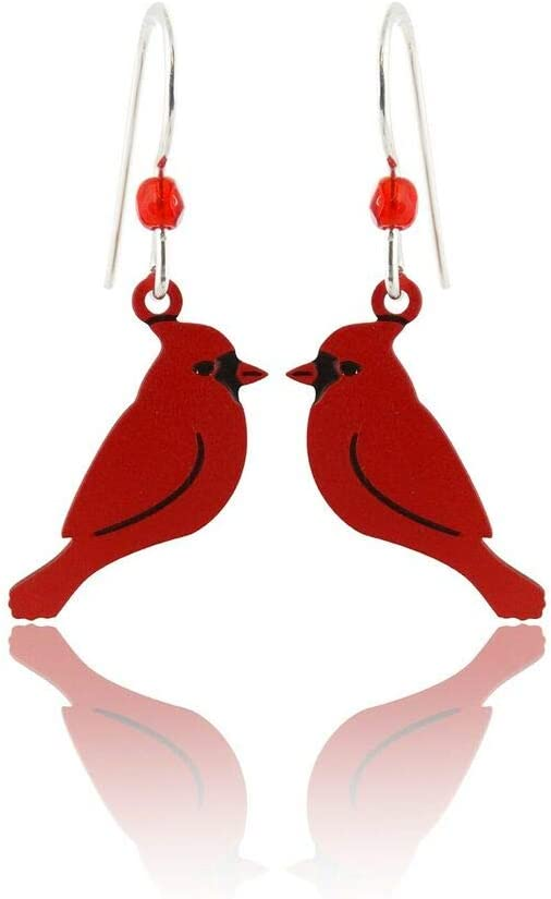 New Red Cardinal Bird Earrings - 925 Max 76% OFF Wires Ear Denver Mall Sterling Silver