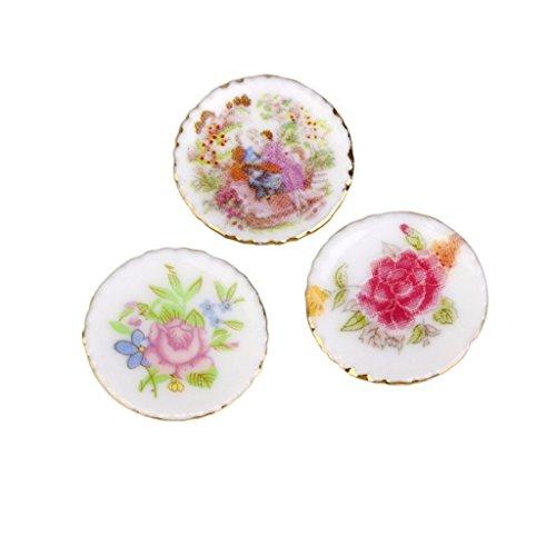Kotiger 3 pcs Dollhouse Mini moderne en céramique Chine Porcelaine Assiettes colorées meubles Accessoires
