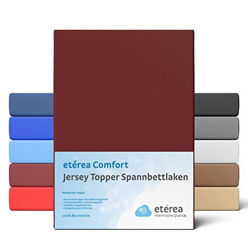 etérea Extra Jersey Topper Baumwolle Spannbettlaken Spannbetttuch Farbe Bordeaux, in der Größe 140x200-160x220 cm