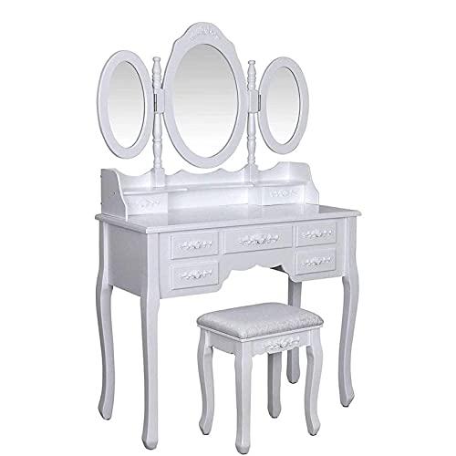 HHTD Mesa de tocador como un Regalo de cumpleaños Mirror Triangular Maquillaje de Mesa Taburete y Almacenamiento Tocador de tocador con cajones