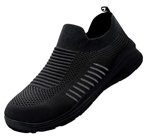 LARNMERN PLUS Zapatos de Seguridad Ligero Hombre Mujer Respirable Zapatillas Trabajo Anti-aplastamiento Antideslizante Cómodo (Negro,46 EU)