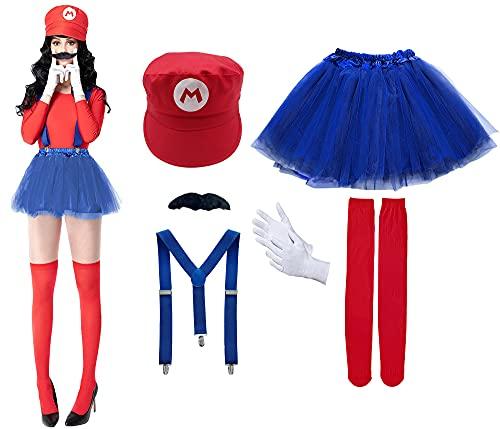 Disfraz de Super Mario Luigi, Gorra de fontanero Barba Negro Tirante Falda Calcetines, Traje Conjunto Classic para Mujer Carnaval y Cosplay, Color Rojo Azul