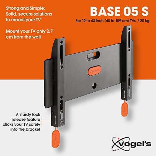 Vogel's BASE 05 S Support mural TV fixe pour écrans 19-43 Pouces (48-109 cm) | Poids max. 20 kg et jusqu'à VESA 200x200