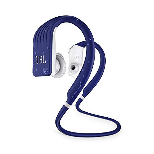 JBL Écouteur sans fil Bluetooth avec microphone, étanche jusqu'à 8 heures, étui de chargement et charge rapide, fonctionne avec Android et Apple iOS (bleu)