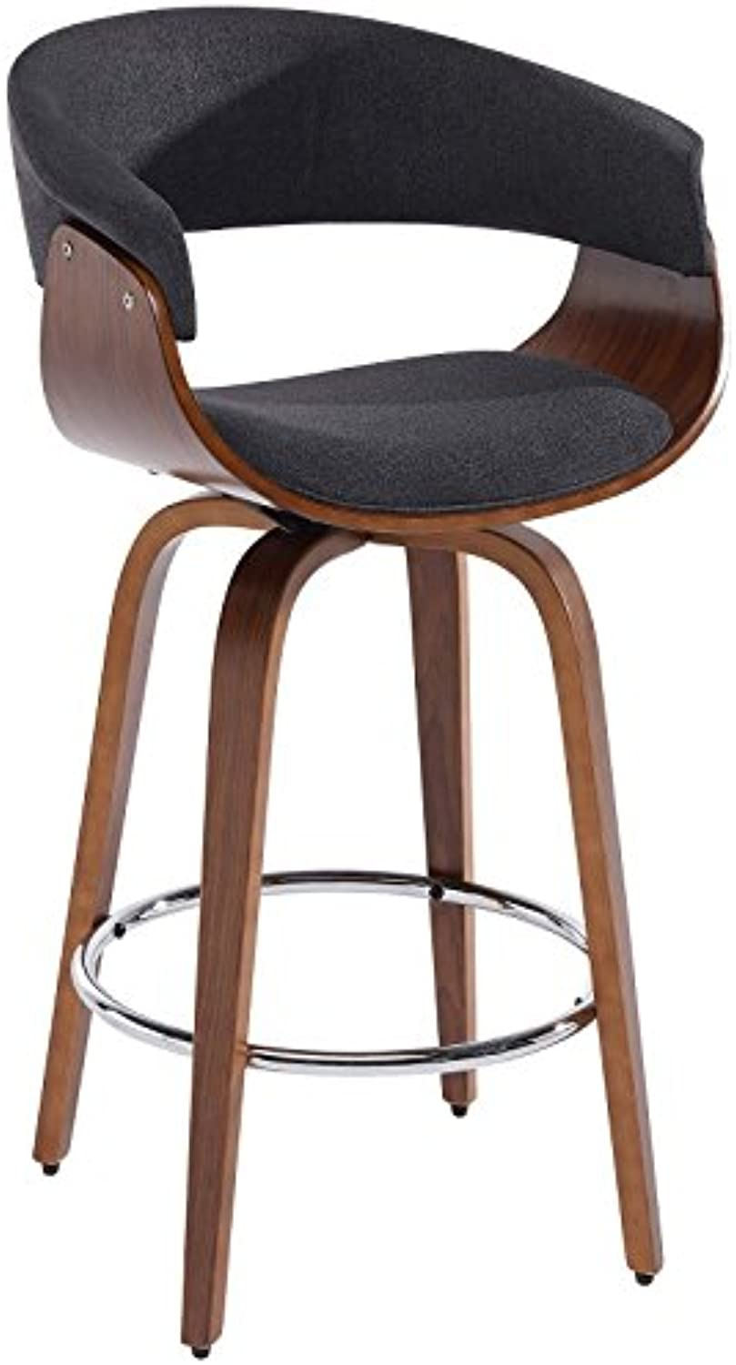 Cameron, Fabric Upholstered, Mid-Century, 26 , Swivel, Counter Height Kitchen  Bar Stool in Charcoal Grey
