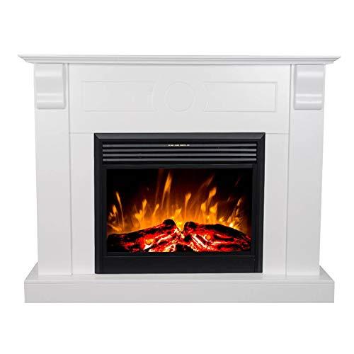 GLOW FIRE Chronos Elektrokamin mit Heizung, Wandkamin und Standkamin mit LED | Künstliches Feuer mit zuschaltbarem Heizlüfter: 750/1500 W | Fernbedienung, Dimmer, Kaminsims, Weiß