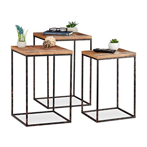 Relaxdays Side Set of 3, Mango Wood & Metal, Mixed Styles, Living Room Nesting Tables in Various Sizes, Brown/Black