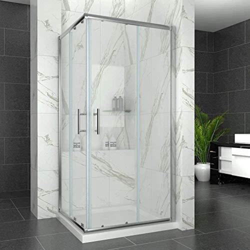 SIRHONA Cabine de douche complète 90x90x185 cm coulissante à double ouverture, porte de douche en verre à 2 panneaux fixes avec verre transparent 5mm, finition chromée