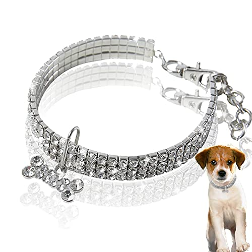 Rhinestone Dog Collars with Bone Adjustable Dog Collars Crystal Diamond Dog Collars Elastic Pet Necklace Pet Birthday Wedding Party Jewelry Accessories for Small Medium Pet Dogs Puppy (White, M)