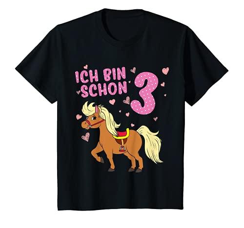 Kinder Pony 3 Jahre alt Pferd Ich Bin Schon 3 Mädchen 3. Geburtstag T-Shirt