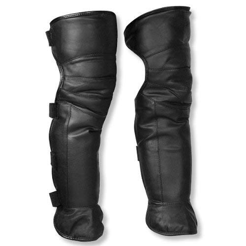 JJLHIF 26' Double Layer Leather Faux Fur Unisex Men Women Adult Adjustable Windproof Warmer Warm Gaiter Legging Legs Cover Half Chaps for Winter Wind Snow Bike Motorcycle Rider