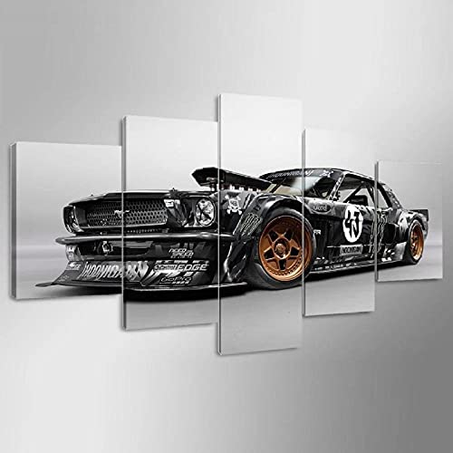 YIMING Prints on Canvas 5 Pieces Wall Art Mustang Auto Painting Pictures for Home Modern Decor Bathroom Creative Gift Wooden Frame Ready to Hang(60''Wx32''H)