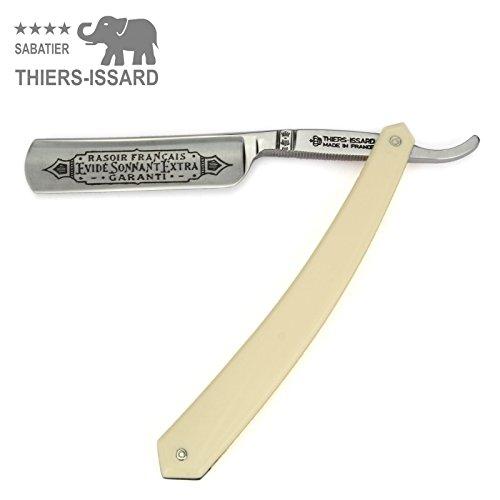 Thiers Issard Rasiermesser aus Frankreich - Griff Heller Kunststoff - 5/8' C135 Karbon-Stahl - Klingenbeschriftung 'Evidé Sonnant' - 1/1 Voll-Hohlschliff