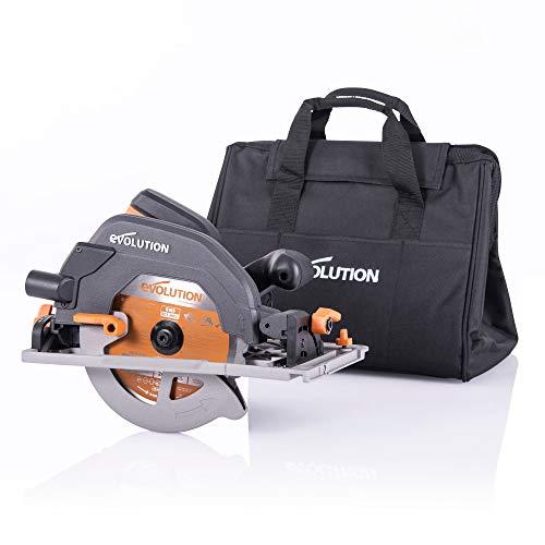 Evolution Power Tools - Scie Circulaire Multi-Matériaux Compatible avec un Guide R185CCSX+ (Pack Plus avec Sac de Transport), 185 mm, 230 V