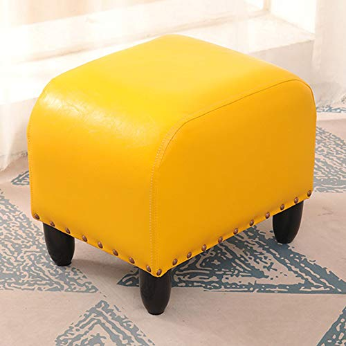 Wooden Ottoman Creative Shoes Changing Stool Soft Foot Rest Stool with Non-Skid Feets, Living Room Bedroom Kids Room, Easy to Clean, Brown Faux Leather
