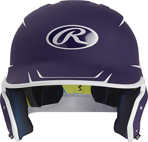 Rawlings MACH Baseball Batting Helmet, Junior, Matte Purple Matte White