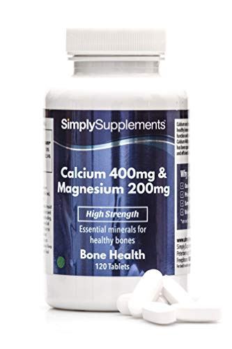 Calcium 400mg & Magnesium 200mg | Support for Bone Health and Muscle Function | Vegan & Vegetarian Friendly | 120 Tablets | Manufactured in The UK