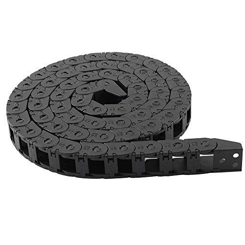 BCZAMD 10X11mm 1M Black Plastic Flexible Nested Semi Closed Drag Chain Cable Wire Carrier for 3D Printer CNC Router Mill