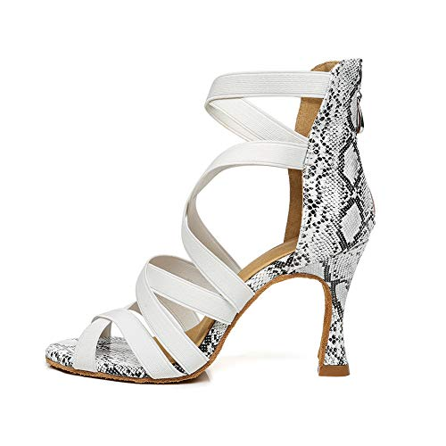 AOQUNFS Zapatos de Baile Latino Mujer Salsa y Bachata Cerrados Zapatos de Baile de Salon,YCL442-5,Blanco,EU40