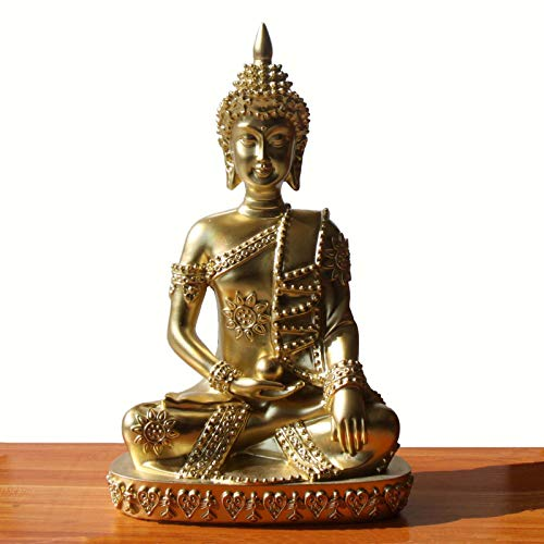 Carefree Fish Buddha Statue Gold Decoration Golden Buda Decor Bring Home a Ray of Sunshine 8Inch