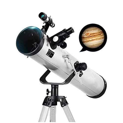 CDPC Telescopio astronómico para niños para Reloj Venus, Júpiter, Saturno Telescopios para Principiantes en astronomía con 3 oculares HD (Color: Blanco)