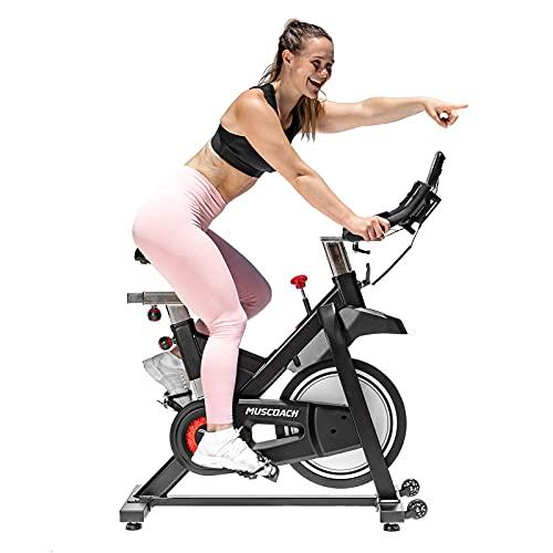 MUSCOACH Bicicleta estática magnética de 350 libras de capacidad, silenciosa transmisión de cinturón para interior de bicicleta estacionaria, fitness ajustable para entrenamiento en el gimnasio en casa