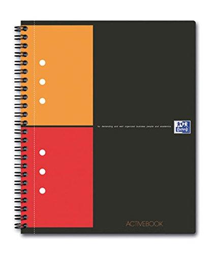 OXFORD Cahier International Activebook A5+ Petits Carreaux 5mm 160 Pages Reliure Intégrale Couverture Polypro Gris