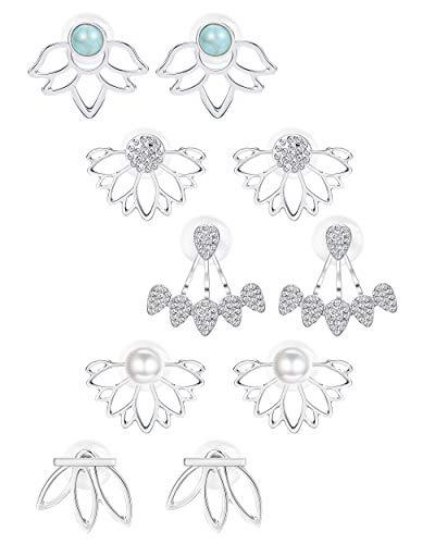BESTEEL 5 Pares Lotus Flower Pendientes Jacket para Mujeres Chicas Sencillo y Elegante Aretes Pendientes Perla Turquesa CZ Pendientes Piercings Helix
