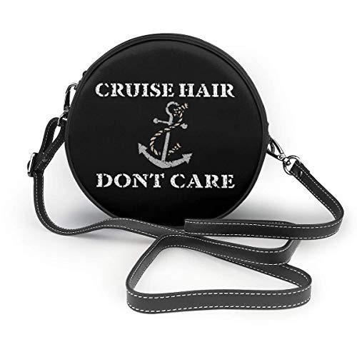 WILHJGH Cruise Hair Dont Care Boat Ocean Sea Bolso de hombro redondo clásico Bolso bandolera de cuero