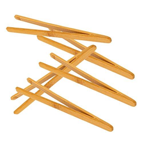 Desconocido 5pcs Pinzas Recta de Madera Bambú Antiestática
