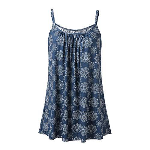 Andouy Damen - Camis Top Print - Ärmellose Weste Tank Plus Size Gr.36-52 Übergroße Laides Daily Beach Straps-Bluse(3XL(46),Marine-Blume)