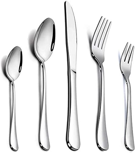 Elegant Life Besteckset, 30-teiliges Edelstahl Essbesteck Set Service für 6 Personen, Hochwertige Spiegelpolierte Bestecksets für Haus, Küche, Party, Restaurant