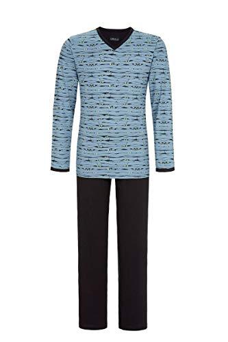 Ringella Herren Pyjama mit V-Ausschnitt Asia Blue 48 0541202, Asia Blue, 48