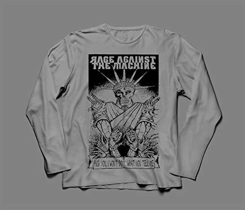 Camiseta Manga Longa Masculina Rage Against The Machine Tamanho:GG;Cor:Cinza