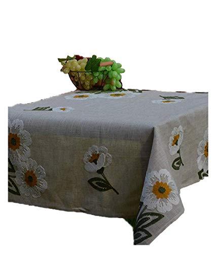 Nappe à manivelle broderies florales aspect lin maison de campagne 85/85 cm Beige/multicolore