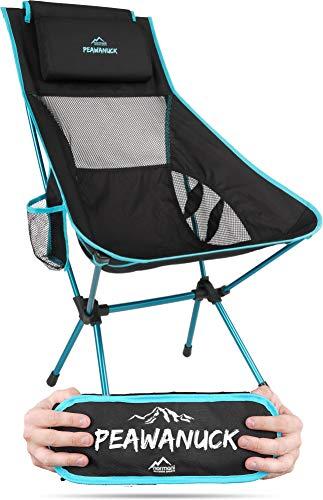 Ultraleichter klappbarer Campingstuhl mit Langer Rückenlehne und Kissen Outdoorstuhl Strandstuhl Reisestuhl Anglerstuhl - nur 995g! Traglast 150kg (330 lbs) Farbe Blau