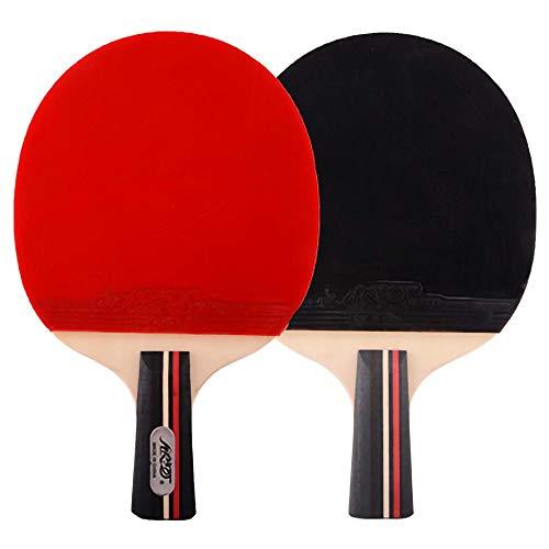 Lerten Raquetas de Tenis de Mesa,Bate de Tenis de Mesa con Adhesivo Inverso de Doble Cara de 1 Estrella Mango CóModo Ligero,Ideal para Actividades Familiares/A/Mango corto
