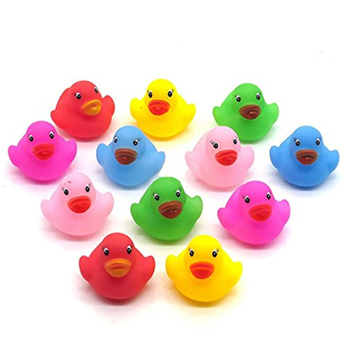 Verlike Bathtime Bath Toys Ducks Squeaky Water Play Fun Toy for Kids Baby (12Pcs Colorful)