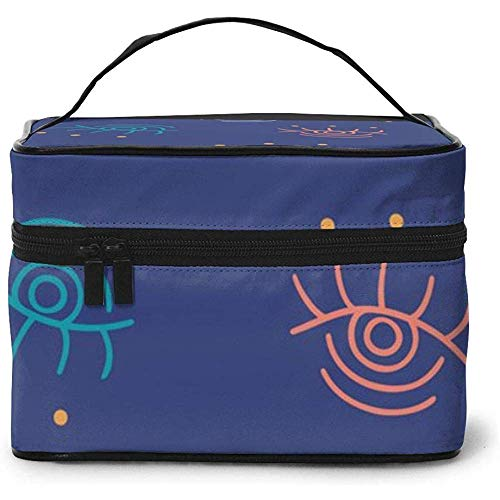 Boho Eyes Doodles Repeat Portable Ladies Travel Cosmetic Case Bag Storage Makeup Pouch Multi-Function Wash Large Capacity