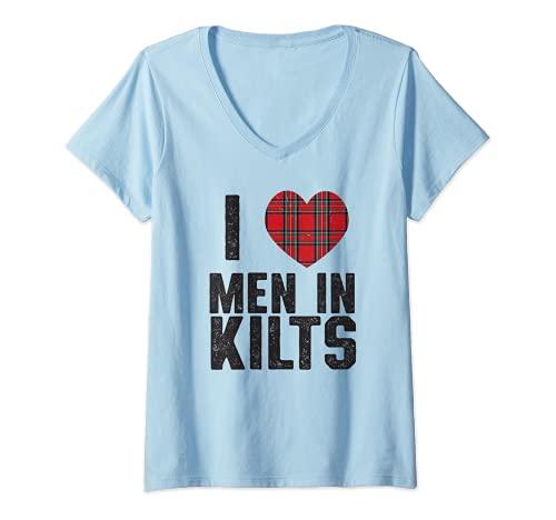Womens I love men in Kilts Scottish Men, bagpipes Celtic, Irish too V-Neck T-Shirt