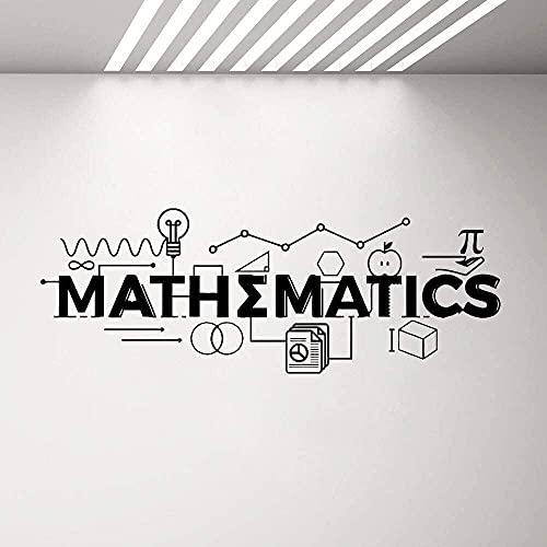 Decalcomanie da Muro di Design di Matematica Decorazione di Classe di Matematica Adesivo in Vinile di Scuola Citazione di Scienza di Arte della Parete Poster Cam 130x47cm