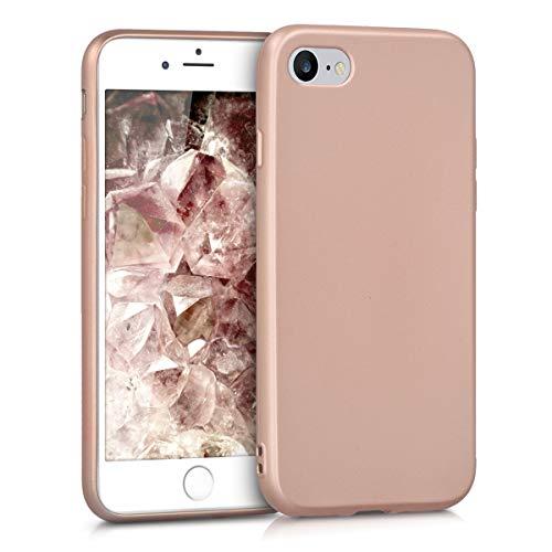 kwmobile Cover Compatibile con Apple iPhone 7/8 / SE (2020) - Protezione Back Case Silicone TPU Effetto Metallizzato - Custodia Morbida Oro Rosa Metallizzato